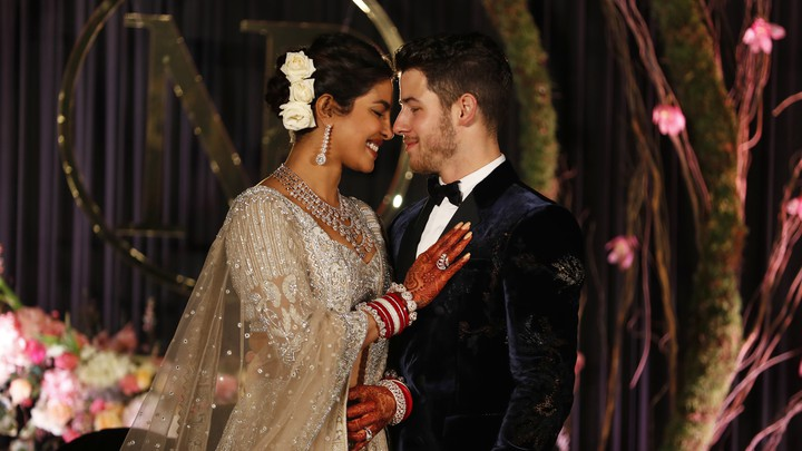 Priyanka Chopra and Nick Jonas at their wedding reception in New Delhi, India on Dec. 4, 2018