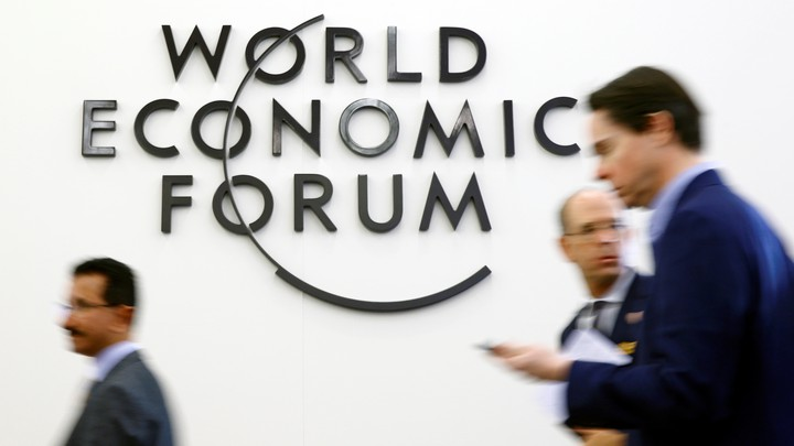 Attendees are seen during the World Economic Forum in Davos, Switzerland, on January 22, 2019.