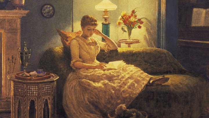 An illustration of a woman reading on a sofa