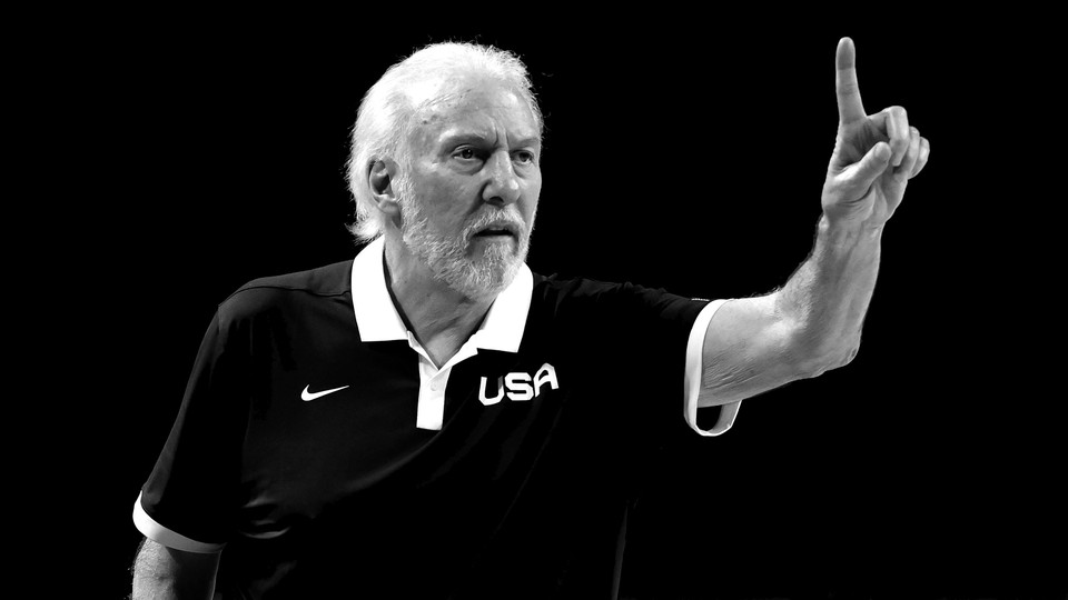 Team USA head coach Gregg Popovich coaching in the Tokyo Olympics on August 5, 2021