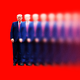 An illustration shows a scowling Trump fade away into the distance.