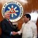 Philippine President Rodrigo Duterte shakes hands with visiting U.S Secretary of State Rex Tillerson