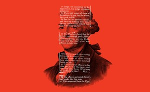 illustration with text of Jefferson Bible over an engraving of Thomas Jefferson