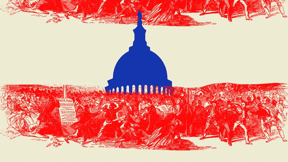 An illustration of a mob surrounding the U.S. Capitol.