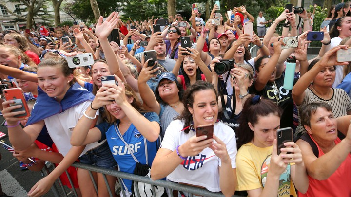 Fans at the parade for the United States women's national soccer team in New York City