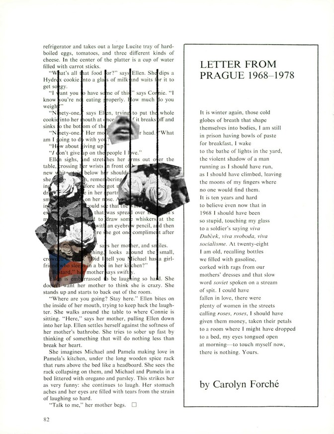 PDF of the poem on the page, with collaged images of roses behind prison bars