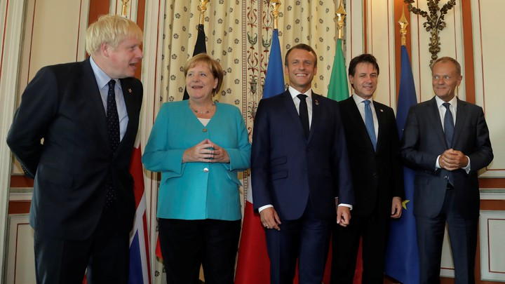 Boris Johnson stands alongside Germany's Angela Merkel, France's Emmanuel Macron, Italy's Giuseppe Conte and the European Council's Donald Tusk.