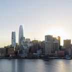 The Salesforce building is pictured on the San Francisco skyline.