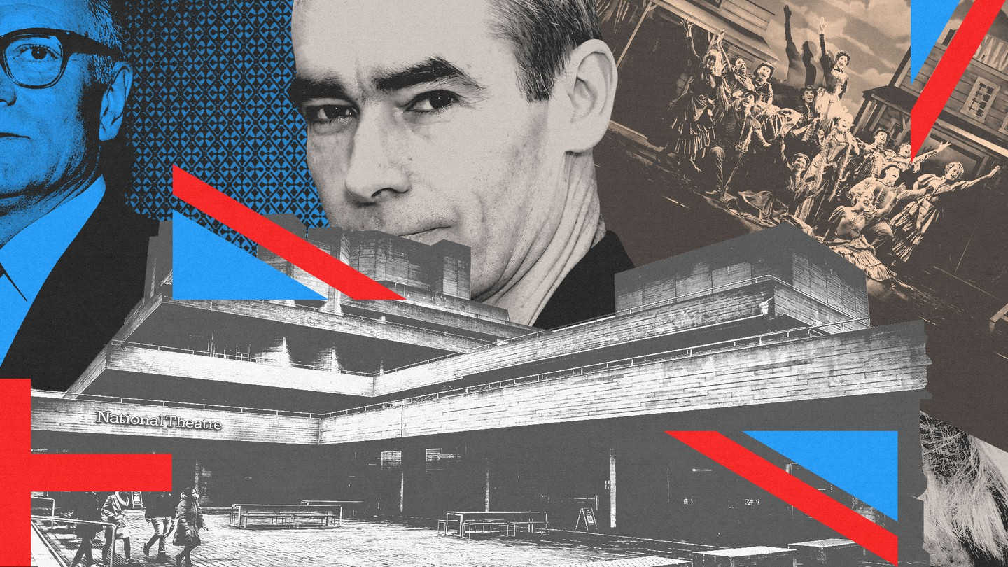 A collage of images including Britain's National Theater
