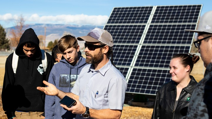 Ben Graves, a high-school science teacher in Delta County, Colorado, speaks to students in his Solar Energy Training class.