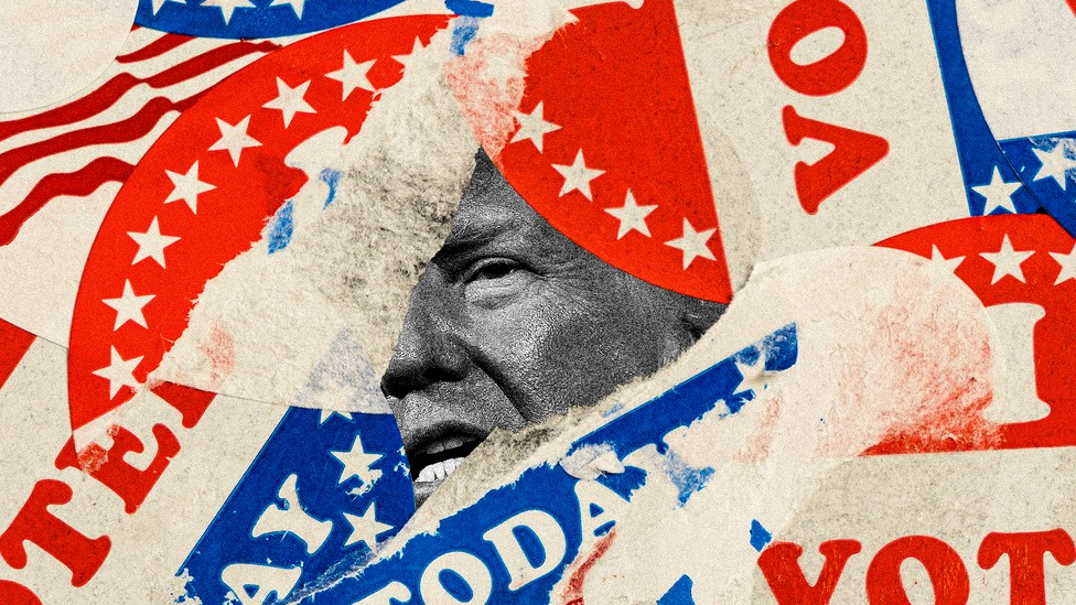 Illustration of voting stickers surrounding a small picture of Donald Trump's face