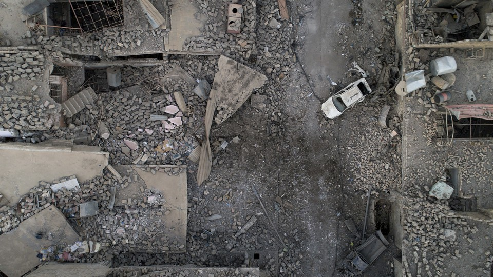 An aerial view of a destroyed street on the west side of Mosul, Iraq