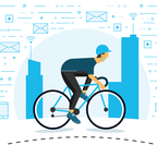 A man cycling past chat boxes, wi-fi symbols, and email envelopes
