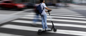A photo of a scooter rider in Los Angeles.
