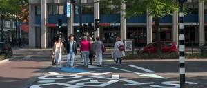 """A creative crosswalk in Rotterdam urges pedestrians to """"Stand Straight."""""""