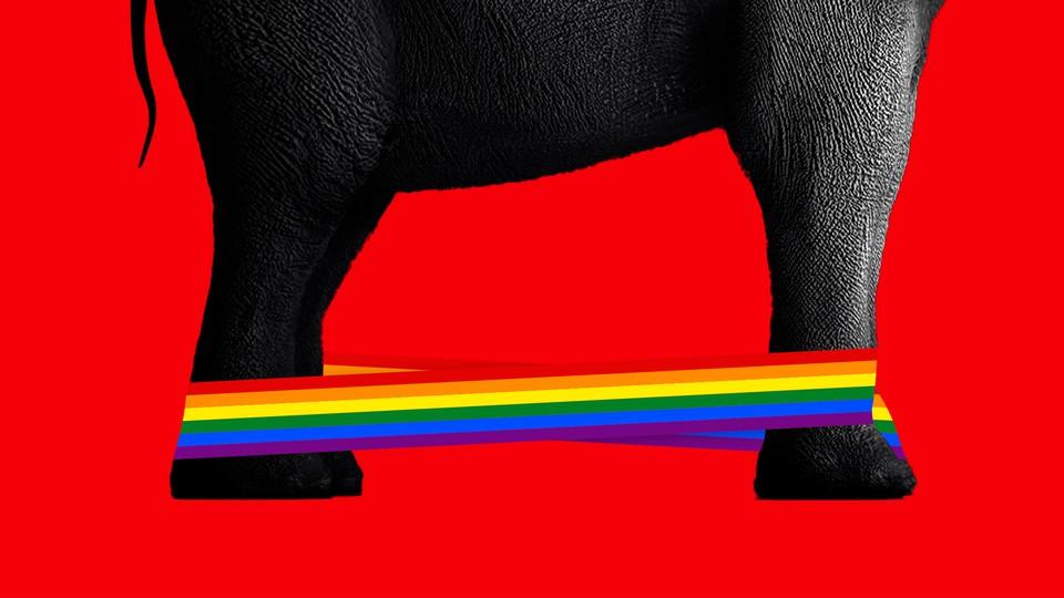 An elephant's feet tied with a rainbow cord