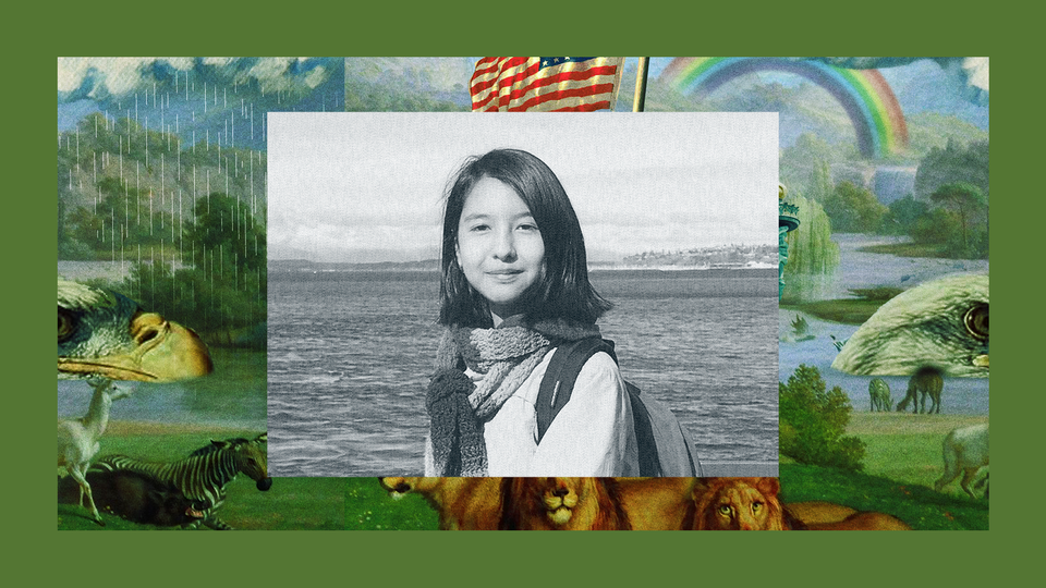 A young Aséna smiles at the camera while standing at the bow of a boat. The image is set into a frame featuring The Experiment's show art.