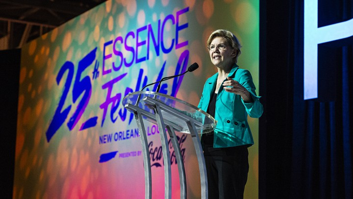 Senator Elizabeth Warren onstage at the Essence Festival in New Orleans, Louisiana