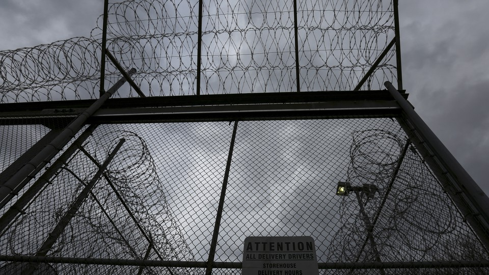 The front gate at the Taconic Correctional Facility, a medium-security women's prison