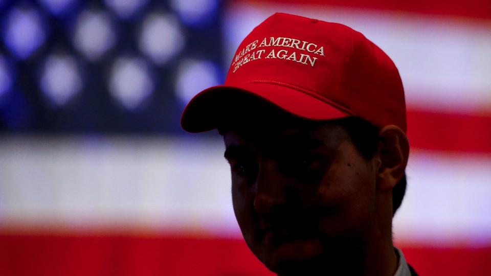 Man wearing MAGA hat