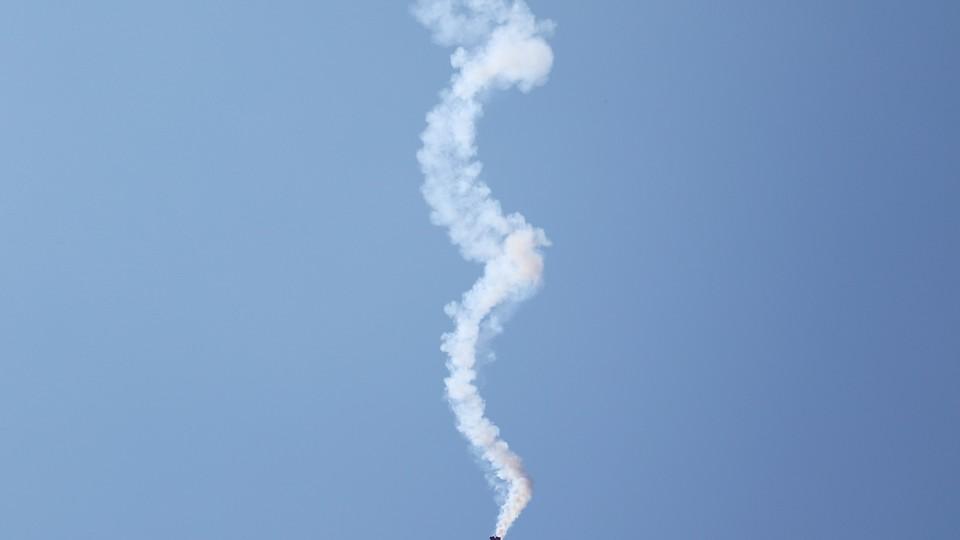 A plane performs a spiral.