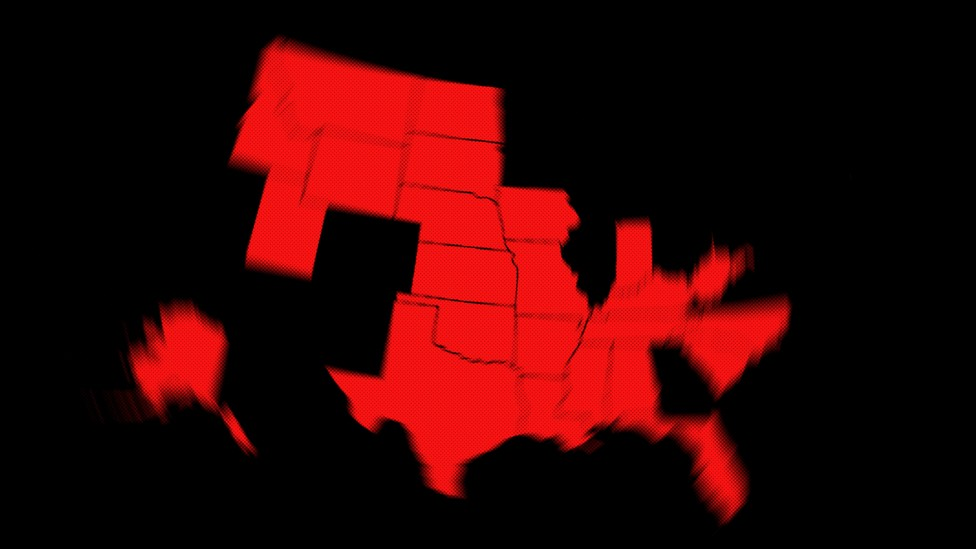 Red states that are blurry around the edges