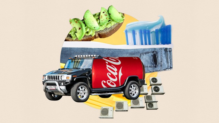 Illustration shows  a truck with a Coca-Cola bottle in the back, avocado toast, a toothbrush atop a pair of blue jeans, and air conditioners.