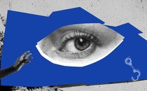 A photo illustration of a house, a woman's eye, a man's hand, and handcuffs