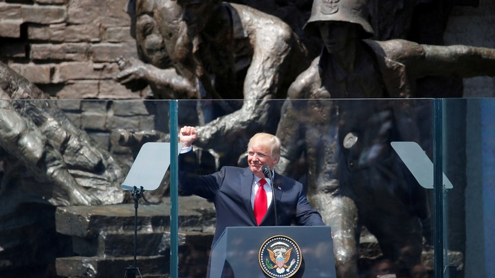 U.S. President Donald Trump gives a public speech in front of the Warsaw Uprising Monument at Krasinski Square, in Warsaw, Poland July 6, 2017.