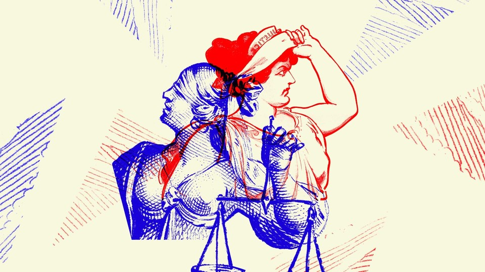 Artwork depicting competing representations of Lady Justice in red and blue