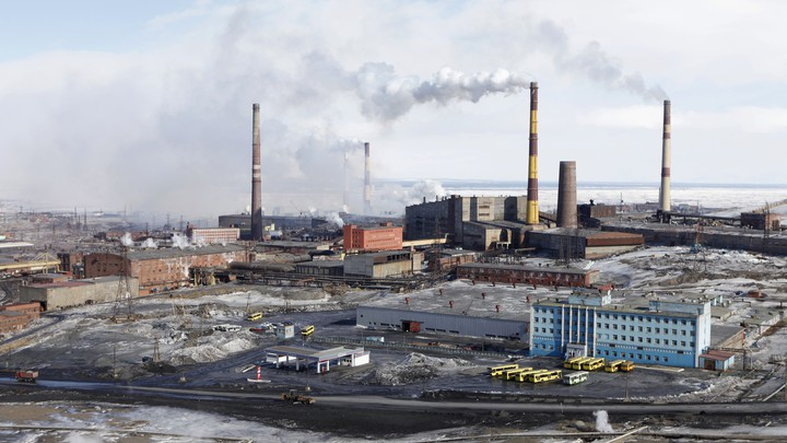 A general view of Nornickel's nickel plant in the Russian Arctic city of Norilsk on April 16, 2010