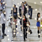A busy shopping mall on Black Friday
