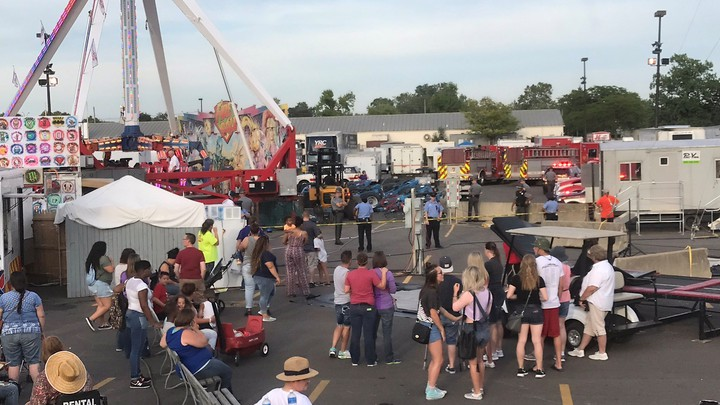 The Ohio State Fair around the time of a ride malfunction on July 26, 2017.