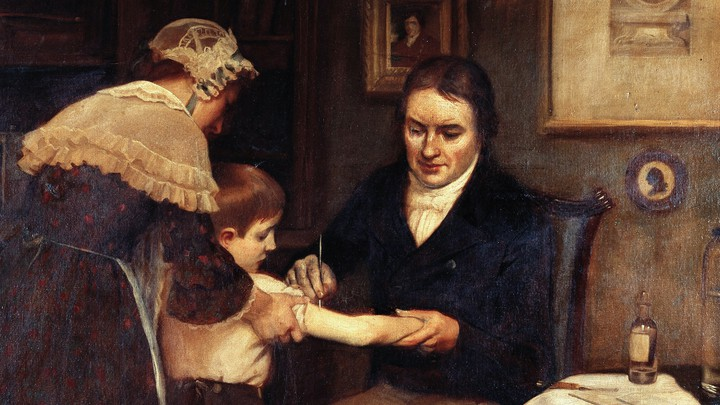 Edward Jenner performing his first smallpox vaccination on a child in 1796.