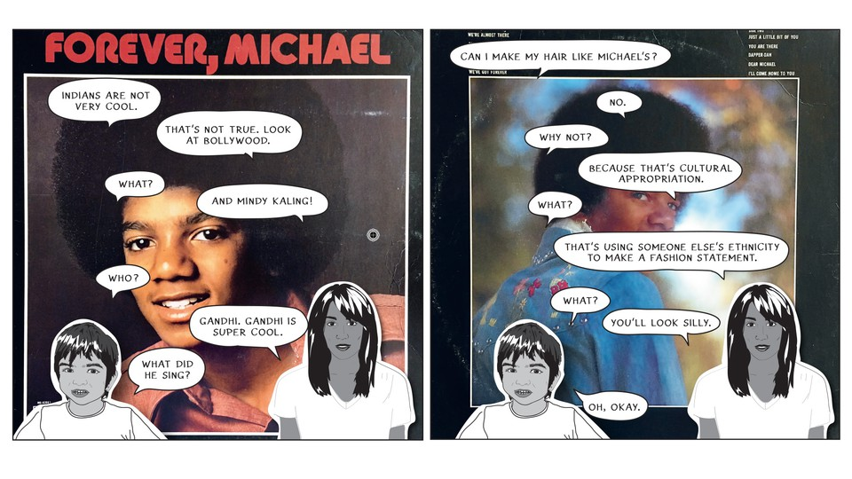"""Excerpt from Mira Jacob's graphic novel """"Good Talk,"""" featuring paper cutouts affixed to Michael Jackson album covers"""