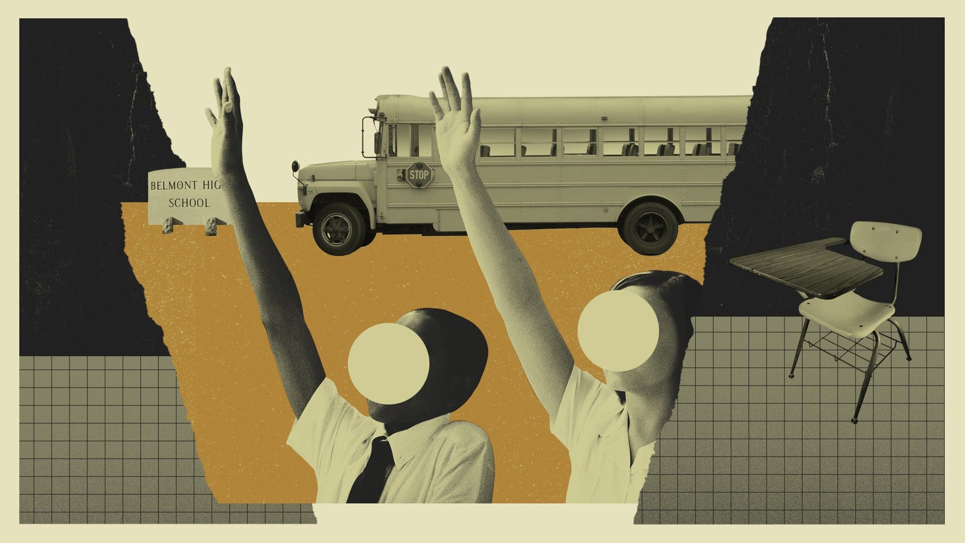 A photo illustration showing a school bus and two obscured students