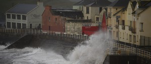 Winds and waves batter the coast as Ophelia hits the County Clare town of Lahinch.