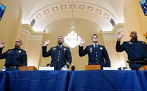 U.S. Capitol Police Sgt. Aquilino Gonell, Washington Metropolitan Police Department officer Michael Fanone, Washington Metropolitan Police Department officer Daniel Hodges and U.S. Capitol Police Sgt. Harry Dunn are sworn in to testify before the House Select Committee investigating the January 6 attack on the U.S. Capitol.