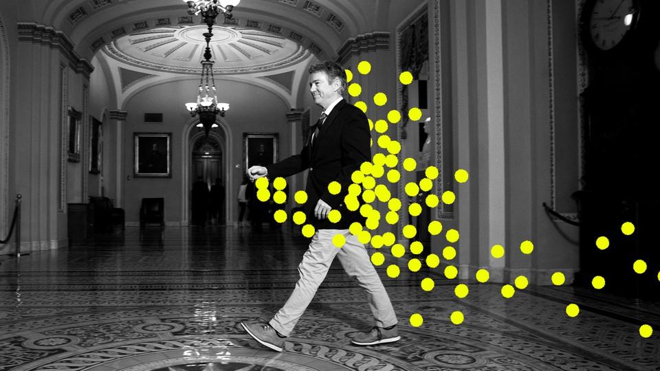An illustration of Senator Rand Paul spreading coronavirus through the Capitol.