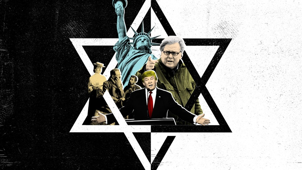A collage featuring Donald Trump, Stephen Bannon, several other people, and the Statue of Liberty atop a black-and-white Star of David