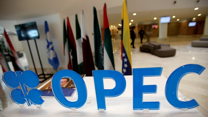 The OPEC logo is pictured ahead of an informal meeting between members of the Organization of the Petroleum Exporting Countries in Algiers, Algeria, on September 28, 2016.