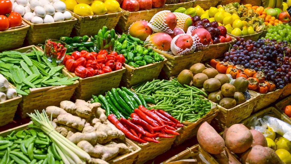 Produce at a market