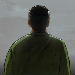 A silhouette of a man from behind, against a grey background