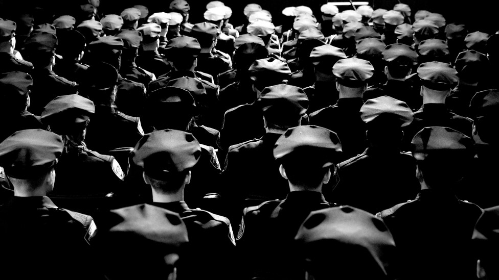 Police officers at a graduation ceremony