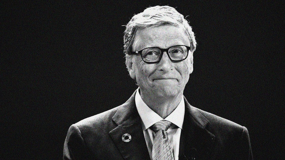Bill Gates gazes ruefully at the camera in a black-and-white photo