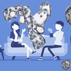 Illustration: two roommates share a couch with a Covid-19 virus.