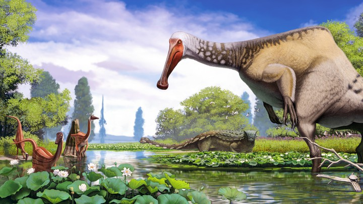 A scene of dinosaurs as reconstructed by Andrey Atuchin, a paleoartist featured in 'Dinosaur Art II: The Cutting Edge of Paleoart'