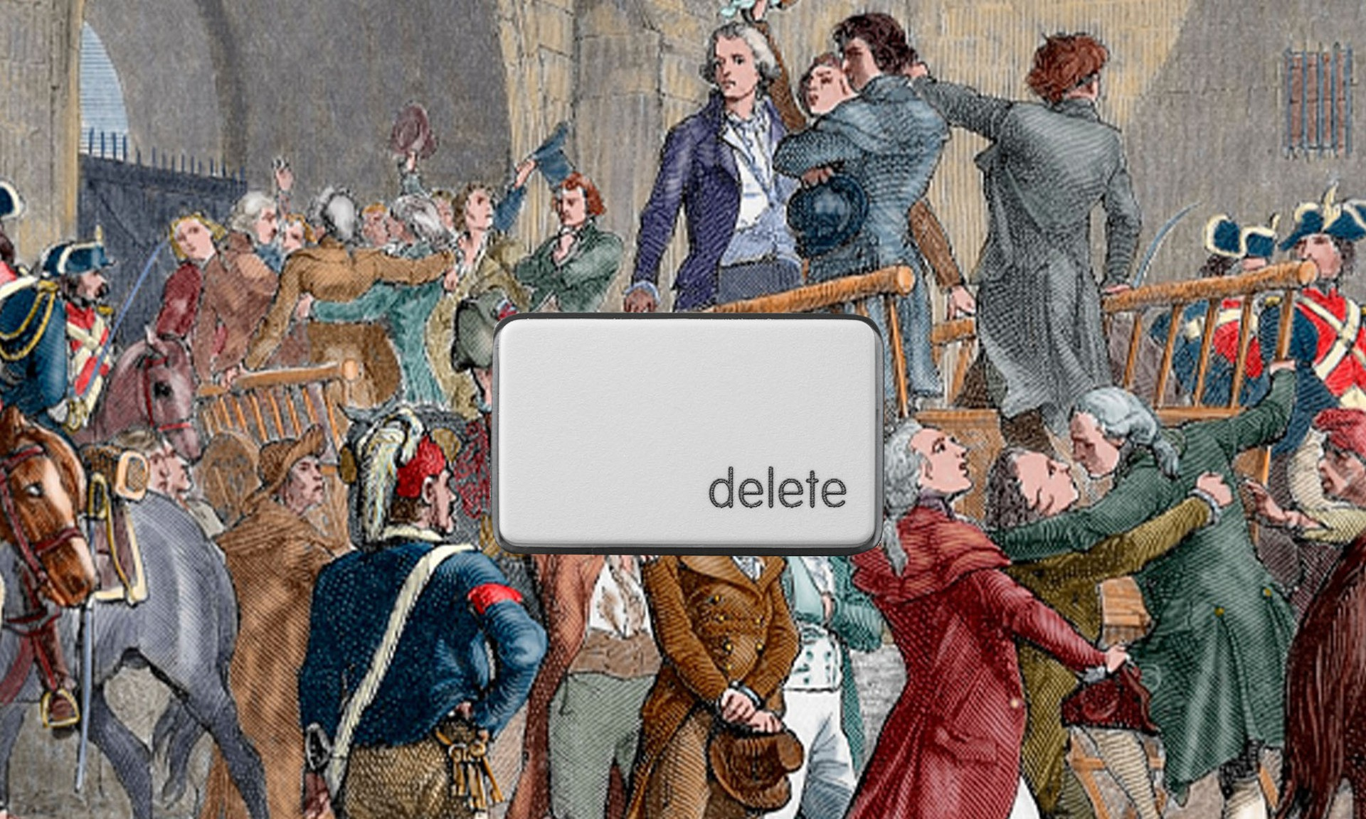 The delete button over a tumbrel