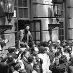 Activist H. Rap Brown converses with a crowd, including newsmen, outside Hamilton Hall as he leaves the building on Columbia University's campus on April 26, 1968.
