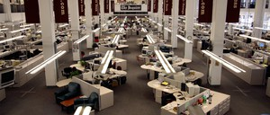 The newsroom of the Philadelphia Inquirer, in 2009, when the owners filed for bankruptcy.
